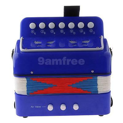 Child Button Toy Accordion Musical Instrument, 7 Keys, 3 Bass Buttons Blue