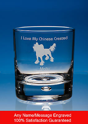Chinese Crested Dog Gift Personalised Engraved Whisky Glass Tumbler