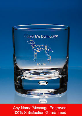 Dalmatian Dog Gift Personalised Engraved Whisky Glass Tumbler