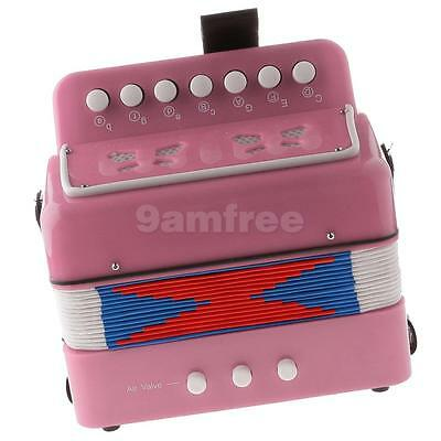 Child Button Toy Accordion Musical Instrument, 7 Keys, 3 Bass Buttons Pink