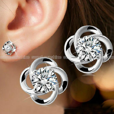 Women's New Sterling Silver Swirl Stud Round Crystal  CZ Cubic Zirconia UK