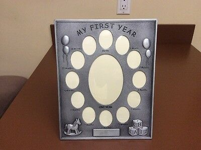 "NEW Babys First 12 Months Silver Photo Frame ENGRAVE ABLE 9"" X 11"" BABY SHOWER"