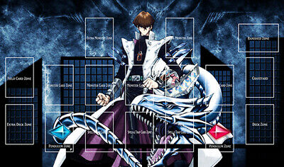 F898# Free Mat Bag Custom Playmat Yugioh Seto Kaiba Blue Eyes White Dragon Zones