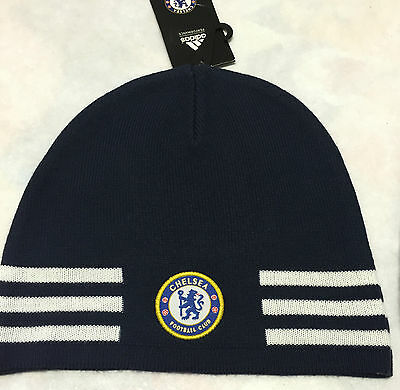 Adidas Chelsea 3S Beanie Hat Navy/white/gold Adult Bnwt