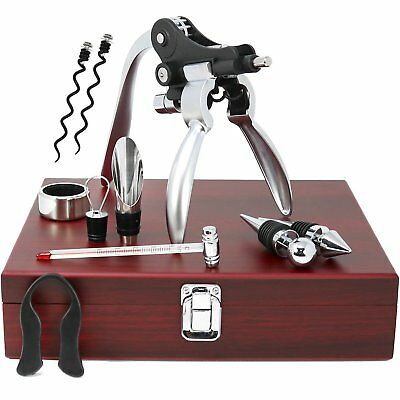 10 Piece Wine Tool Set Bottle Opener Wooden Gift Box Corkscrew Accessories