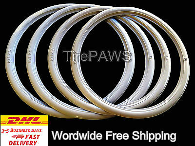 "ATLAS Front 18"" Back 15"" Motorcycle White Wall Portawall Tire insert Trim Set."