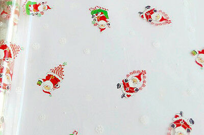 CHRISTMAS SANTA CLAUS CELLOPHANE ROLL for XMAS Gift Hamper Wrap Packaging - 20m