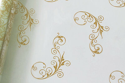 GOLD CHRISTMAS SCROLL CELLOPHANE ROLL for XMAS Gift Hamper Wrap Packaging - 20m