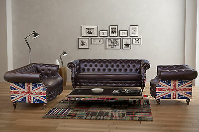 New Chesterfield Flag Bonded Leather Sofa Suite Brown 3 2 1