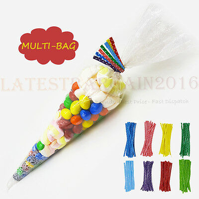 Party Candy Bag Cone Cello Large Cellophane Sweet Display Kids TWIST TIES UK
