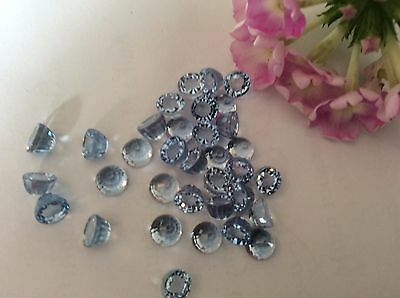 Cubic Zirconia round faceted bullet gemstones 5mm Sapphire x7 Vintage Craft