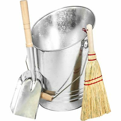 Deluxe Fireside Galvanised Coal Bucket Shovel Brush Companion Fireplace Set