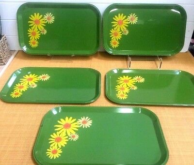 Vintage metal serving trays- set Of 5 Green W Daisies Good Condition 14 X 8 1/2""