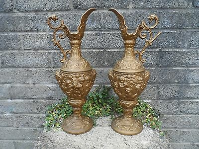Large antique pair of gilt Spelter cherub ewers - Victorian gilt jugs