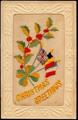 WWI Embroidered Silk Christmas Postcard - Allied Flags, Holly, Four Leaf Clover