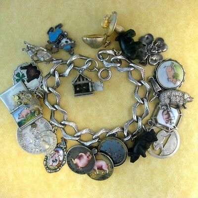 Antique Austrian German Lucky Pig Charms Choose from 18 Enamels Lockets Movable