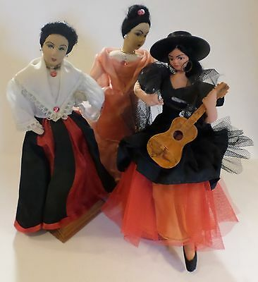 Spanish Style Trio of Cloth Dolls Hand Painted Faces 1960s VINTAGE