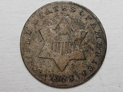 1852 THREE Cent 3c US Silver Coin .  #5