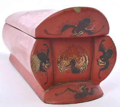 Old Chinese Fujian Fuzhou Foochow Foo Chow Lacquer Carved Coffin Chest Box Mk
