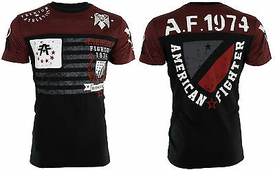AMERICAN FIGHTER Mens T-Shirt NAZARETH Athletic BLACK RED Biker Gym MMA UFC $40