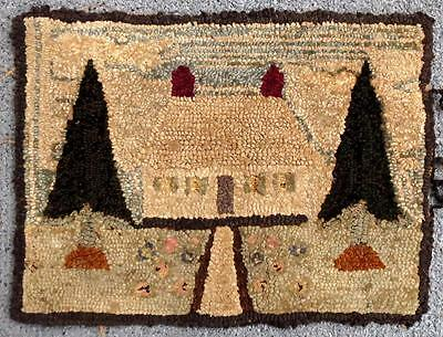 Maine Vintage Primitive Hand Hooked Wool Mat - House & Trees - Needs some TLC!