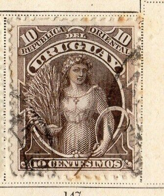Uruguay 1895-96 Early Issue Fine Used 10c. 096069
