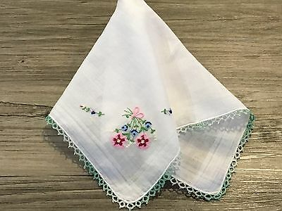 """Petit Point Floral Corner Hanky Handkerchief With Green Tatted Lace Edge 12"""""""