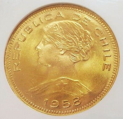 1958 So Gold Chile 100 Pesos Coin Ngc Mint State 66 Santiago Mint