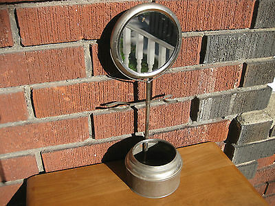Vintage Tin Pedestal Shave Stand w/ Mirror Made in Germany 34cm Tall 11.3cm Base