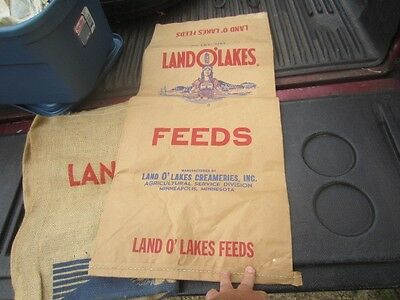 Vintage Land O Lakes Feeds Paper  Feed Seed Sack Bag Indian Maiden 50 Lb