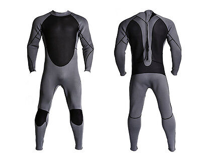 New Mens 3mm Gray Black Neoprene Wetsuit Wet Suit Full Body Smooth Skin Surf