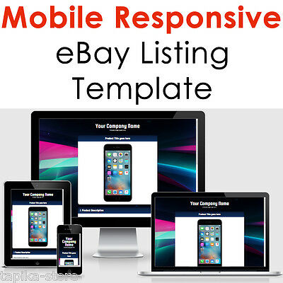 eBay Listing Template HTML Professional Mobile Responsive Design 2018 Universal