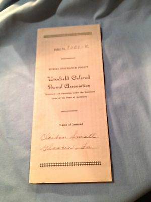 Winnfield Colored Burial Association, Insurance Policy 1940, For A 7 Year Old