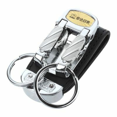 Black Wide Belt Loop Double Rings Metal Keychain Key Holder CP