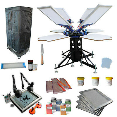 4 Color 4 Station Screen Printing Kit UV Exposure/ Drying Cabinet /DIY Materials