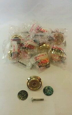 New Vintage Ajax Lot Of 10 Gold Variation Knobs 2 Inserts Brass Zamak 435-3