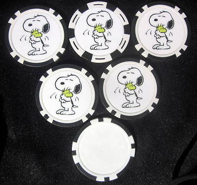 LOT of 5 Snoopy & Woodstock Peanuts Poker Chip Golf Markers Craft Medallions
