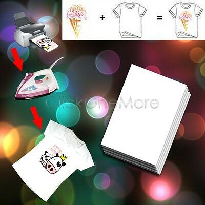 A4 Iron On T-Shirt Transfer Paper For Light Fabric Pack of 20