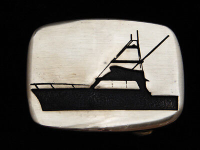 Pi13106 Vintage 1978 **cabin Cruiser** Boat Art Solid Brass Bts Belt Buckle