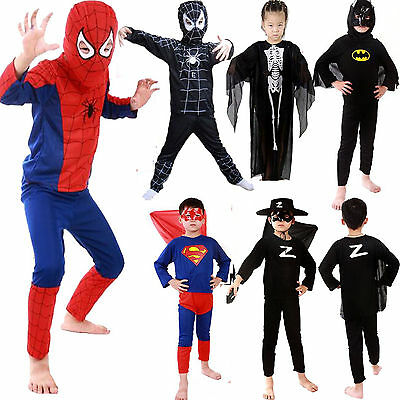 Halloween Kids Boys Superhero Spiderman Fancy Dress Cosplay Clothes Outfit 3-7Y