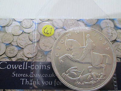 1935 GEORGE V ROCKING HORSE SILVER CROWN COIN in clear wallet about unc Cc7