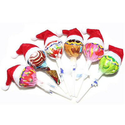6/12/30pc Mini Lollipop Santa Claus Hats Lollypop Cap Wrap Christmas Party Decor