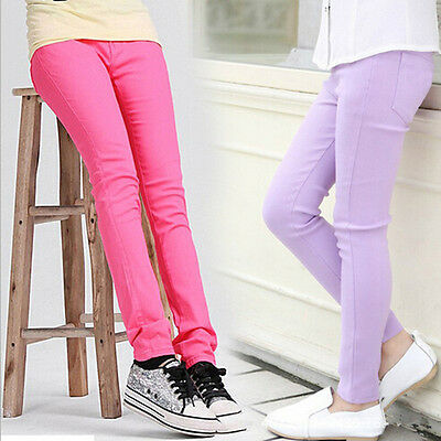 Girls Plain Skinny Jeans Jegging Leggings Trousers Black White  +colors age 2-10