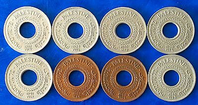 Complete Set of Israel Palestine 5 Mils British Mandate Coins - Lot of 8 Coins