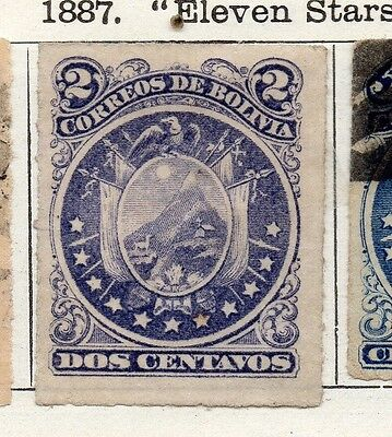 Bolivia 1887 Early Issue Fine Mint Hinged 2c. Rouletted 096655