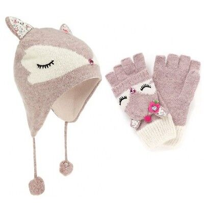 Girls NEW Ex Monsoon Accessorise Fluffy Dear Chullo Hat & Capped Gloves 3-12y