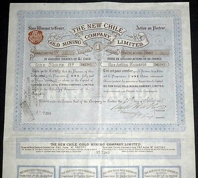 1885 The New Chile Gold Mining Company - Share Warrant to Bearer, with coupons