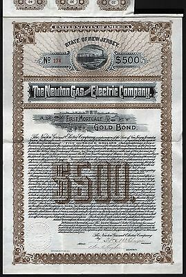 1904 New Jersey: The Newton Gas and Electric Company, uncancelled $500 Gold Bond