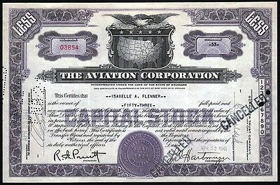 1941 The Aviation Corporation Stock Certificate