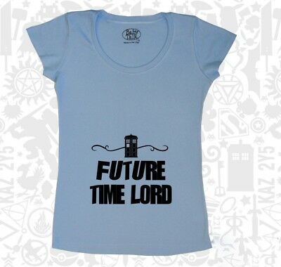 Future Time Lord Maternity Tee Doctor Who BBC Shirt Blue Pop Culture Pregnant